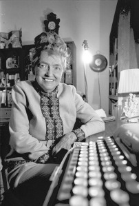 Walton at her typewriter. Internet use only. By permission Phoenix Sun, 1972